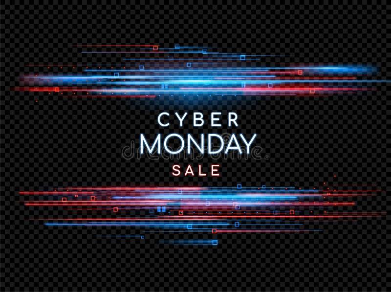 Cyber Poniedziałek Promocyjny online sprzedaży wydarzenie Wektorowa technologii ilustracja ilustracja wektor