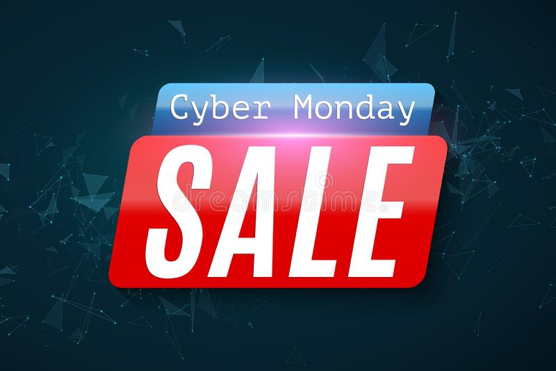 Cyber Poniedziałek Super sprzedaż Geometryczny trójgraniasty cząsteczki plexus Sieć sztandar dla twój projekta nowoczesne projekt ilustracji