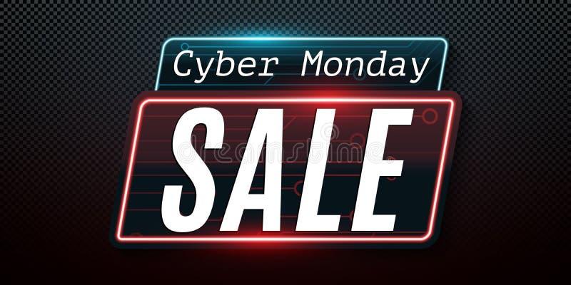 Cyber Poniedziałek Super sprzedaż Technika obwodu rozjarzona błękitna deska Specjalna oferta Sieć neonowy sztandar odizolowywając ilustracja wektor