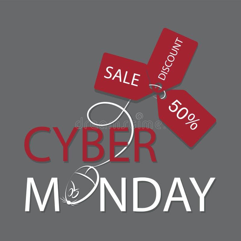 Cyber Poniedziałek Zakupy wiadomość z komputerową myszą i trzy czerwonymi etykietkami royalty ilustracja