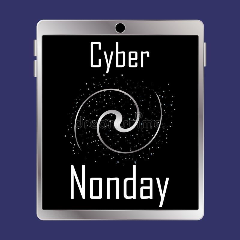 Cyber Poniedziałku inskrypcja na pastylka ekranie obraz royalty free