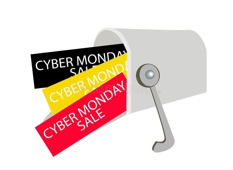 Cyber Poniedziałku listy w Szarej skrzynce pocztowa ilustracja wektor