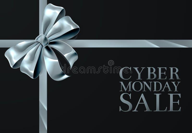 Cyber Poniedziałku Piątek sprzedaży srebra łęku Tasiemkowy projekt ilustracja wektor