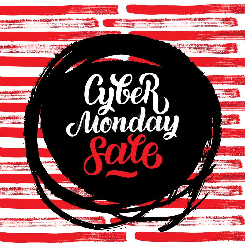 Cyber Poniedziałku sprzedaży handmade literowanie, kaligrafii tło dla loga, sztandary, etykietki, odznaki, druki, plakaty, sieć royalty ilustracja
