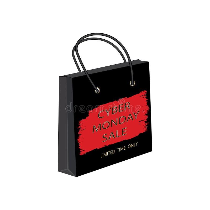 Cyber Poniedziałku sprzedaży papierowej torby akwareli czerwieni muśnięcia uderzenie odizolowywał białego tło wektor zdjęcia stock