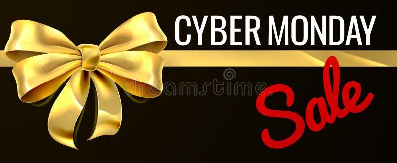 Cyber Poniedziałku sprzedaży prezenta Złocistego łęku Tasiemkowy projekt ilustracja wektor