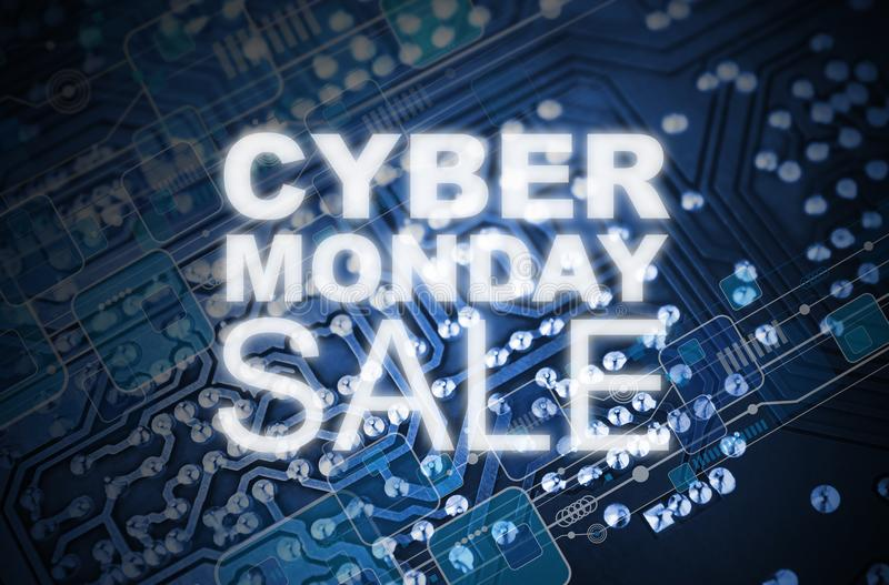 Cyber Poniedziałku sprzedaży projekt na technologia obwodu błękitnej desce obrazy royalty free