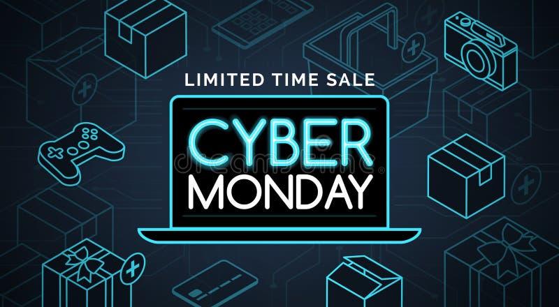 Cyber Poniedziałku sprzedaży promocyjny zakupy royalty ilustracja