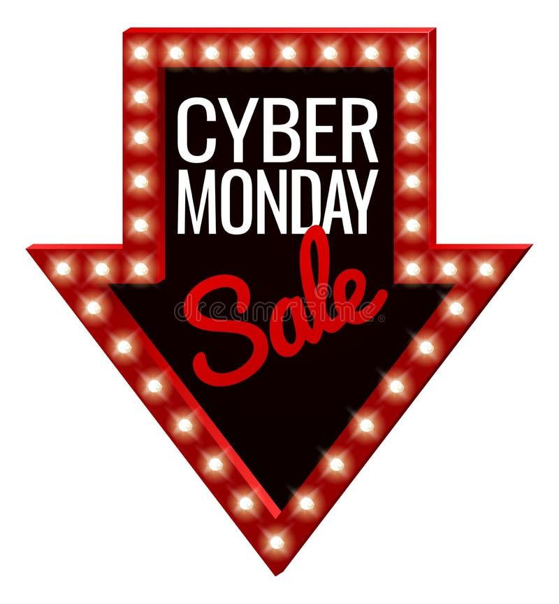 Cyber Poniedziałku sprzedaży strzała znak ilustracji