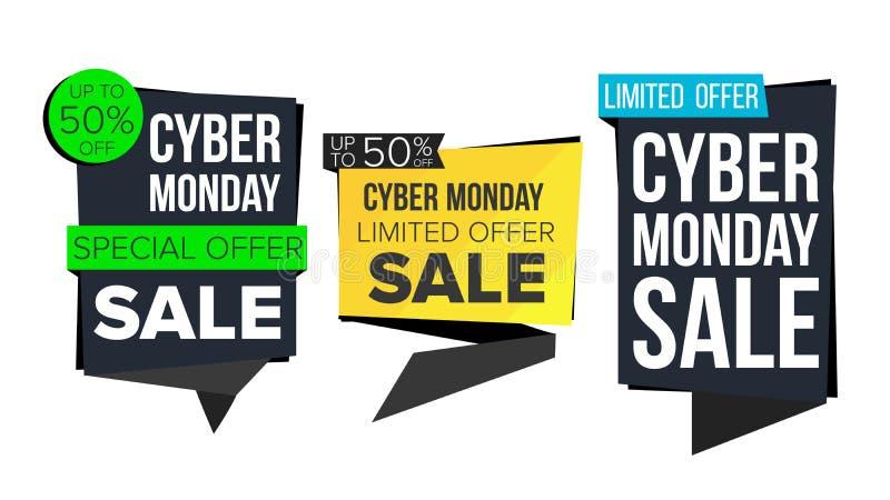 Cyber Poniedziałku sprzedaży sztandaru kolekci wektor dof ręce karty ogniska płytki zakupy online bardzo Strona internetowa majch royalty ilustracja