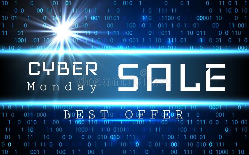 Cyber Poniedziałku sprzedaży sztandaru wektorowy szablon Błękitny olśniewający binarnego kodu tło z strzała i próbka tekstem ilustracja wektor
