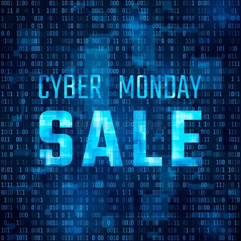 Cyber Poniedziałku sprzedaży technologii sztandar Dyskontowy oferta szablon na binarnego kodu tle również zwrócić corel ilustracj royalty ilustracja