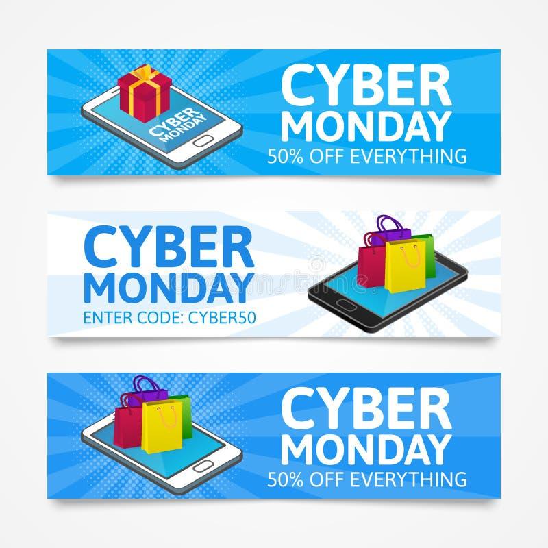Cyber Poniedziałku sztandary Isometric smartphones z prezenta pudełkiem i kolorowymi papierowymi torbami Online zakupy pojęcie royalty ilustracja