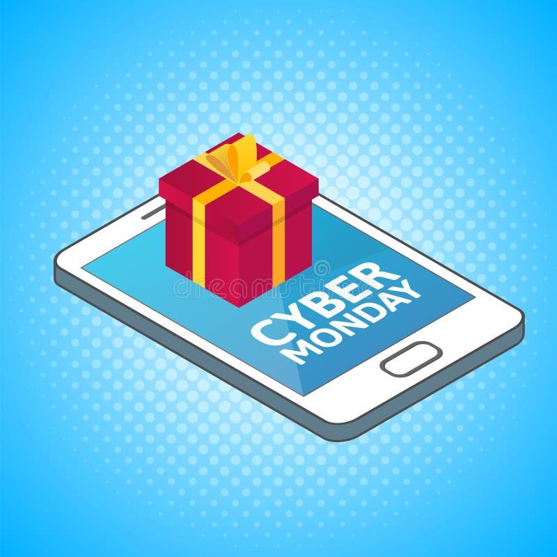 Cyber Poniedziałku tło Isometric smartphone z czerwonym prezenta pudełkiem royalty ilustracja