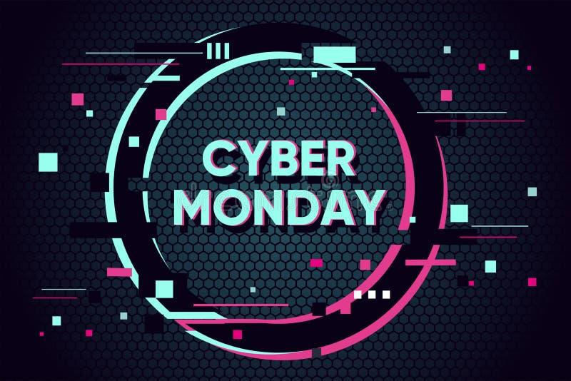 Cyber Poniedziałku tło z usterka skutkiem Promo sprzedaży sztandaru horyzontalny projekt Abstrakcjonistyczna wektorowa ilustracja ilustracja wektor