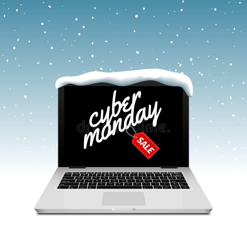 Cyber Poniedziałku znak na laptopu ekranie Wektorowy online sprzedaż rabat na zimy tła śniegu ilustracji