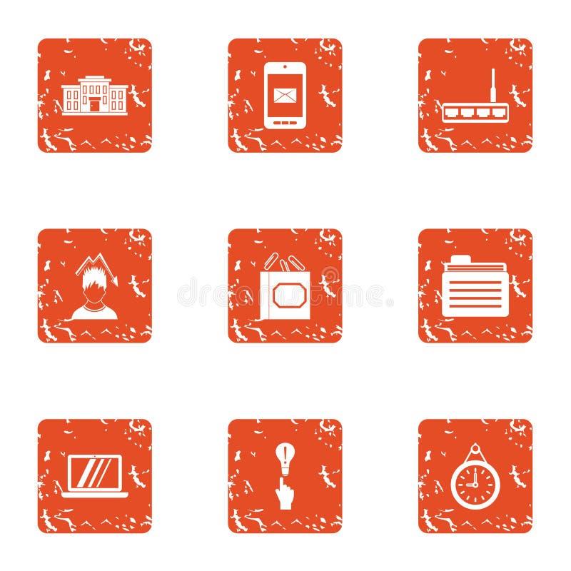 Cyber pracy ikony ustawiać, grunge styl ilustracja wektor