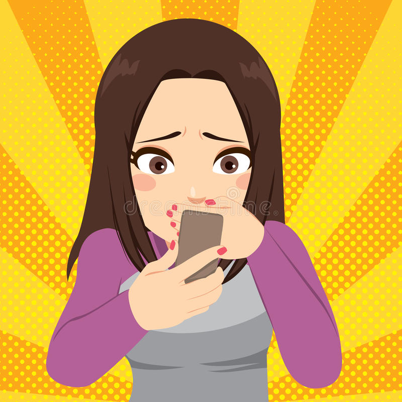 Cyber que tiraniza Smartphone ilustração do vetor