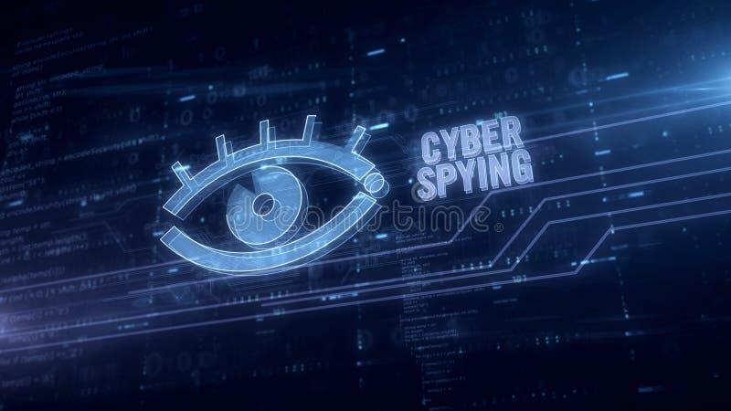 Cyber remarquant avec l'hologramme bleu d'oeil illustration stock