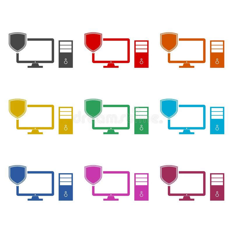 Cyber risks icon, data and network protection, color set. On white stock illustration