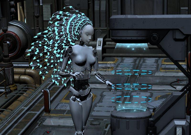 Cyber robot in sci-fi interior vector illustration