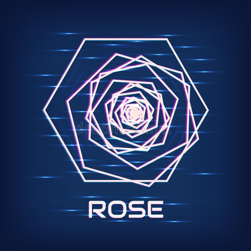 Cyber rose. Neon glow. stock photography