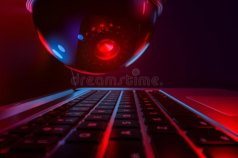 Cyber safety concept - computer keyboard and dome cctv watching it. 3D rendering stock illustration