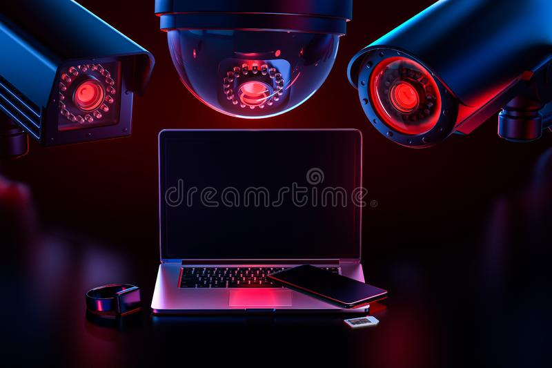 Cyber safety and data leakage concept: computer and other devices observed by hostile looking cctv`s. 3D rendering vector illustration