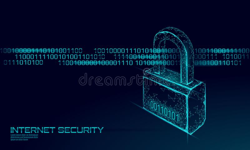 Cyber safety padlock on data mass. Internet security lock information privacy future innovation technology network royalty free illustration