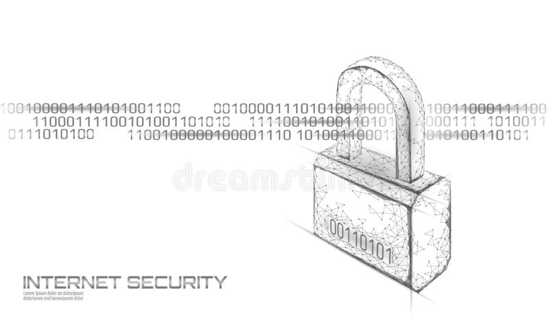 Cyber safety padlock on data mass. Internet security lock information privacy low poly polygonal future innovation vector illustration
