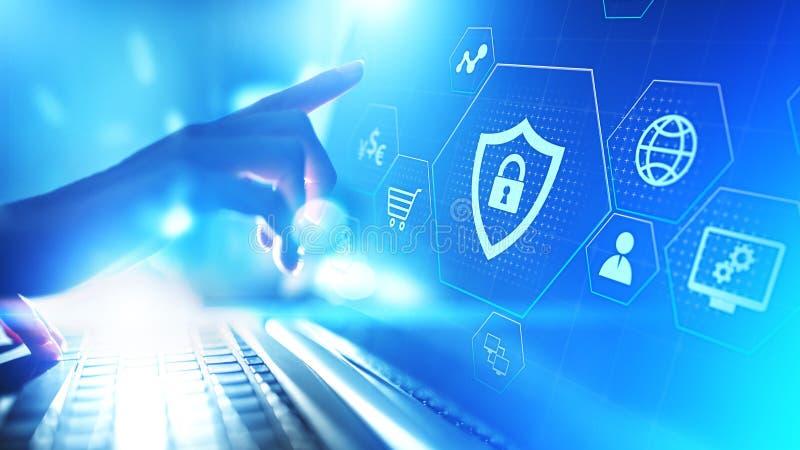 Cyber-Schutz-Datensicherheits-Internet-Privatleben-Internet-Technologiekonzept auf virtuellem Schirm vektor abbildung