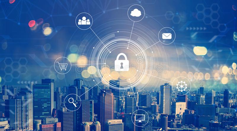 Cyber security with aerial view of city skylines. At night stock photography