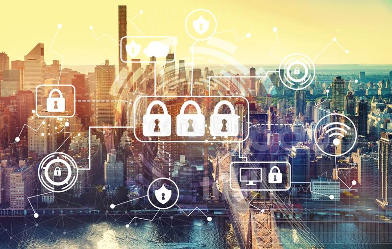 Cyber security with aerial view of Manhattan, NY. Skyline royalty free stock image