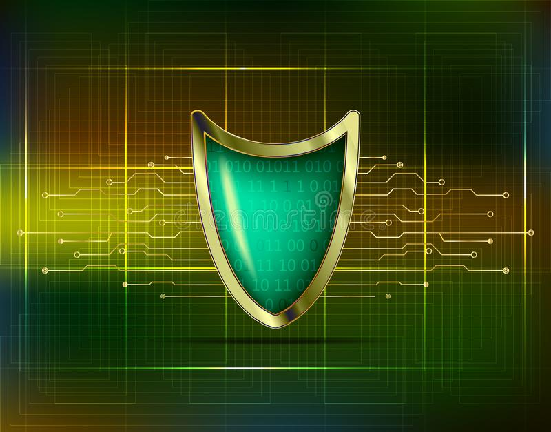 Cyber security antivirus concept with gold green blue shield, futuristic lines and numbers. Protected web privacy technology stock illustration