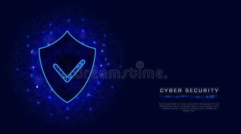Cyber security banner template. Shield with check mark on abstract blue background. Digital data protection concept. stock illustration