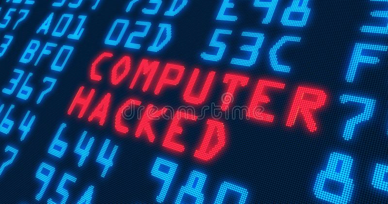 Cyber security buzzwords – computer hacked stock illustration