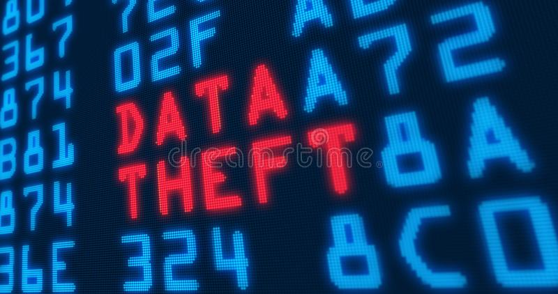 Cyber security buzzwords – data theft royalty free illustration