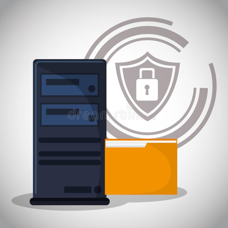 Cyber security computer data padlock file royalty free illustration