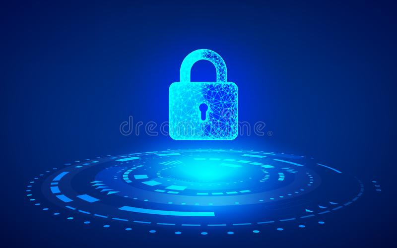 Cyber Security Concept. Closed digital padlock on future technology background. Online data protection. Vector illustration stock illustration