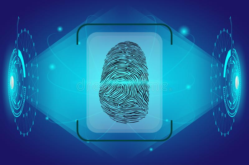 Cyber Security Concept : Fingerprint on interface future technology background.  vector illustration
