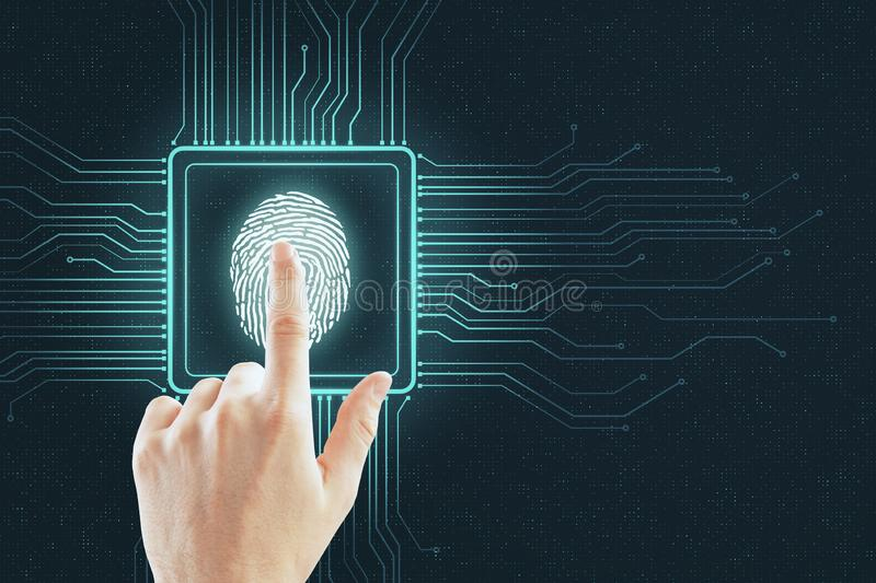 Cyber security concept with human finger royalty free stock photo