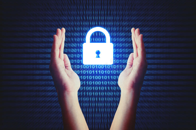 Cyber security concept, human hand protecting lock icon with bin stock photo