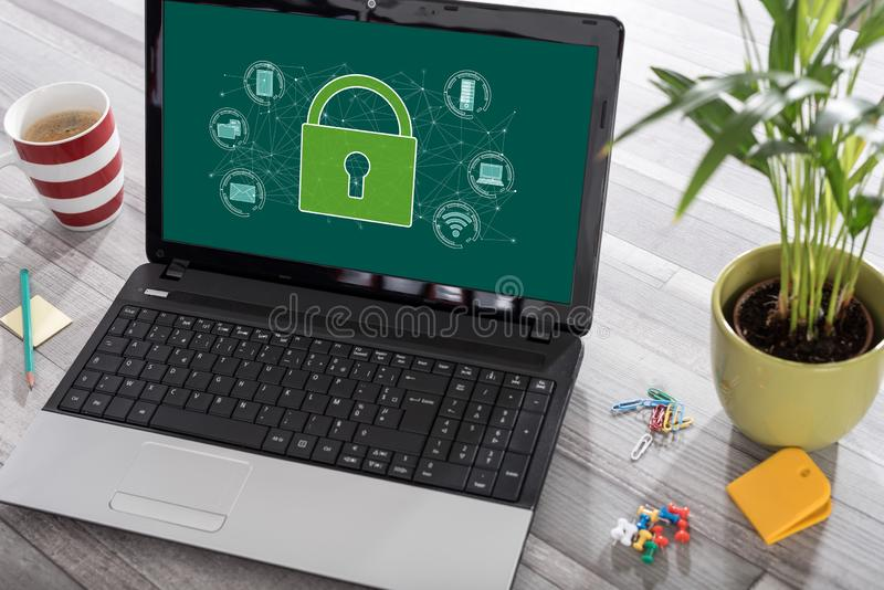 Cyber security concept on a laptop. Laptop on a desk with cyber security concept on the screen stock images