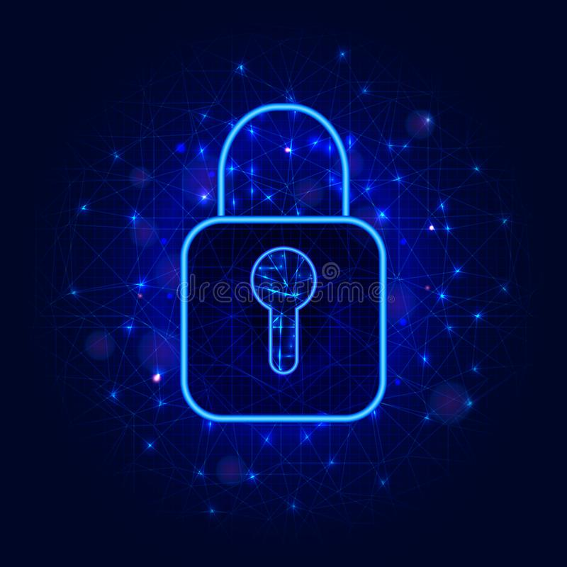 Cyber security concept with lock symbol on abstract geometric background with polygonal mesh. Data protection or safety design. vector illustration