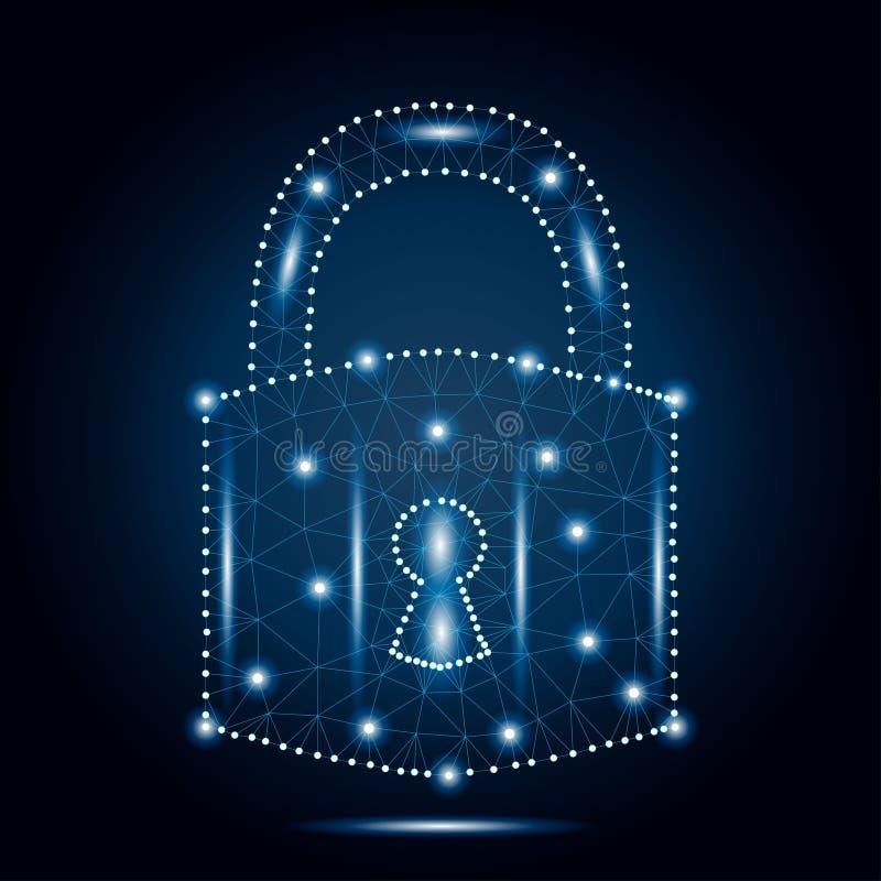 Cyber padlock, polygon, blue, stars stock illustration