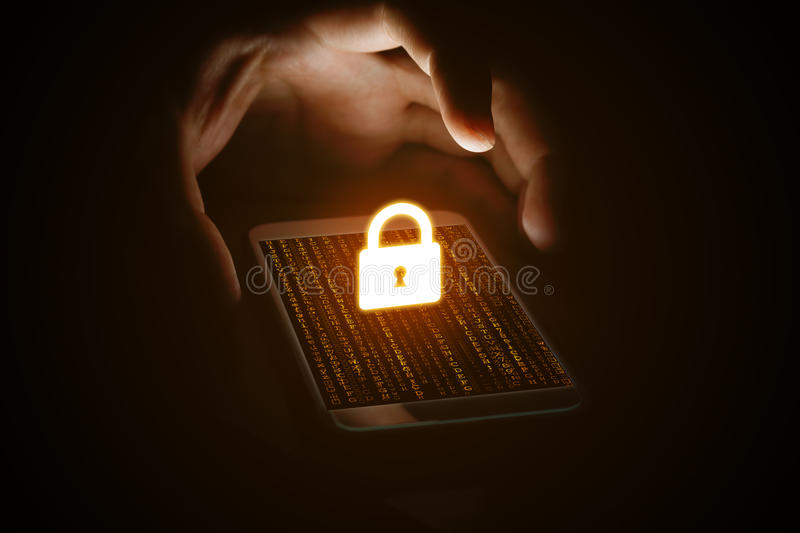 Cyber security concept, man hand protection network with lock icon and virtual screen on smartphone. royalty free stock image