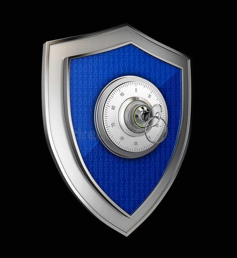 Cyber security concept: Shield With combination lock on black background vector illustration