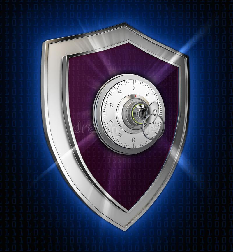 Cyber security concept: Shield With combination lock and rays on abstract background royalty free illustration