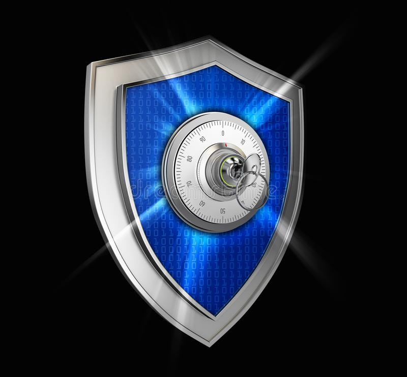 Cyber security concept: Shield With combination lock and rays on black background stock illustration