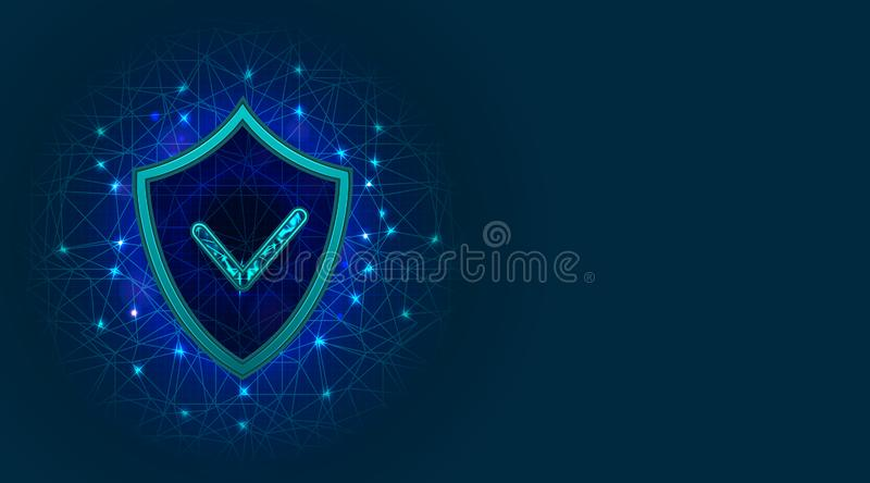 Cyber security concept with shield icon. Internet safety, information or digital data privacy protection, network technology stock illustration